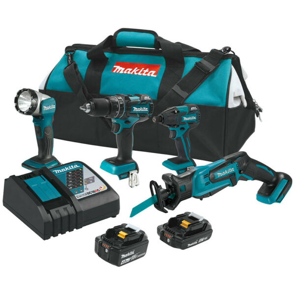Makita XT444MR 18V LXT Drill Impact Reciprocating Saw LED Flashlight 4pc Set