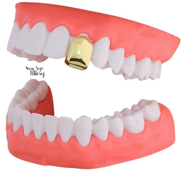 14k Gold Plated Small Single Tooth Cap Grillz Teeth wMold Hip Hop Grill