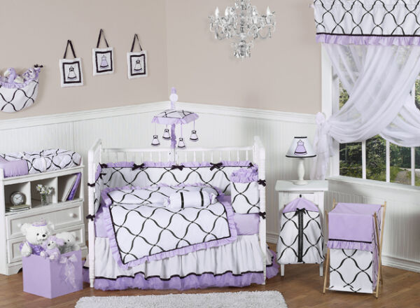 Jojo Discount Luxury Boutique Black White and Purple Baby Girl Crib Bedding Set