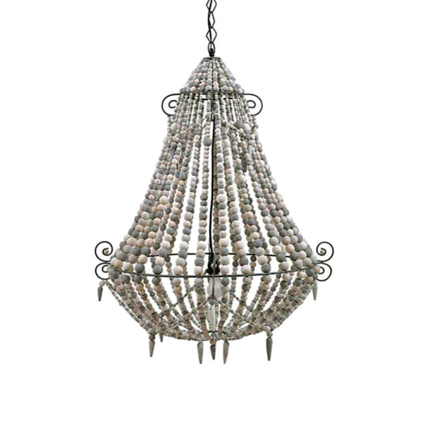 BIG Beaded Chandelier in White Wood Old French Country Style Wooden Fixture