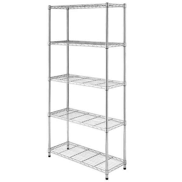 ChromeBlack 5-Shelf Steel Wire Tier Layer Shelving 72x36x14