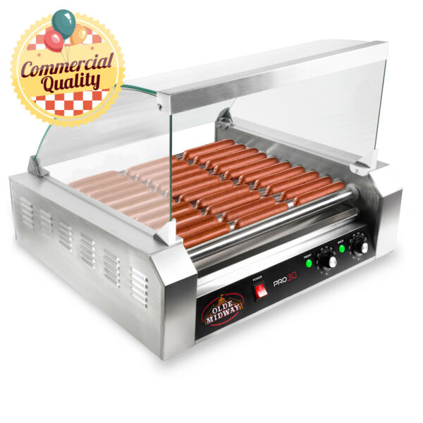 Commercial Electric 30 Hot Dog 11 Roller Grill Cooker Machine 1200 Watt w Cover $178.99