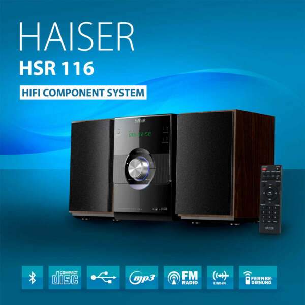 HAISER ® HSR 116 Kompakt HiFi System Bluetooth USB CD MP3 Radio Fernbedienung