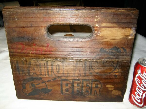 #2 ANTIQUE USA NATIONAL BEER BREWERY BAR WOOD CRATE BOTTLE FACE ART DRINK SIGN