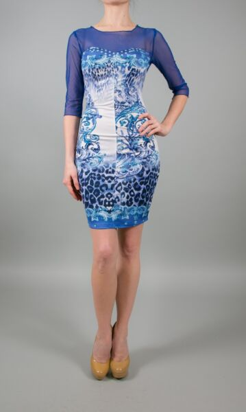 MET in Jeans AZURE Mini Sexy Fitted Dress in Blue
