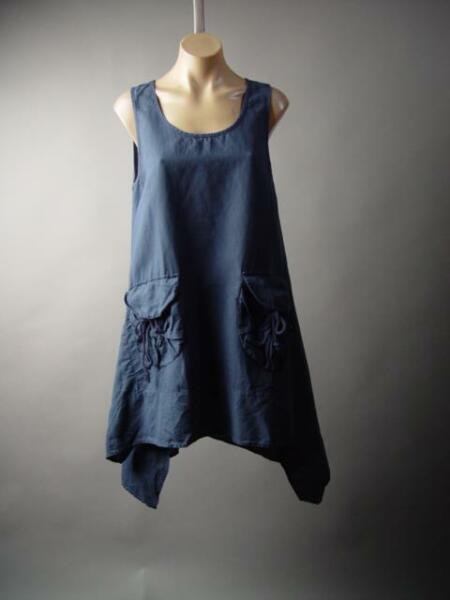 Linen Cotton Lagenlook Cottage Navy Blue Peasant Pinafore 218 mv Dress S M L $35.98
