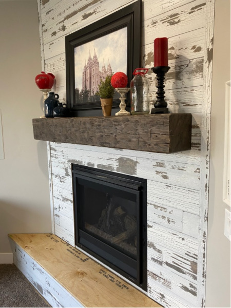 Six Foot Hand Hewn Rustic Barn Beam Style Fireplace Mantel 6' w Mounting Straps