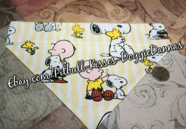 DOG BANDANA Sz XS L Over Collar PINSTRIPE SNOOPY CHARLIE BROWN Hugs Good Dog $6.00