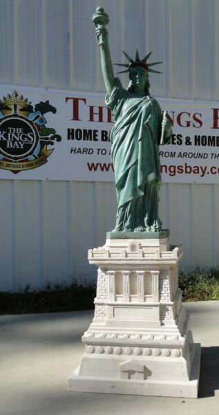 Statue of Liberty Sculpture w Tiffany Green Finish Faux Stone Base 74 Inches T