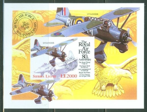 SIERRA  LEONE  IMPERF 80th ANNIVERSARY OF THE RAF SS  SC#2136   MINT NH $39.95