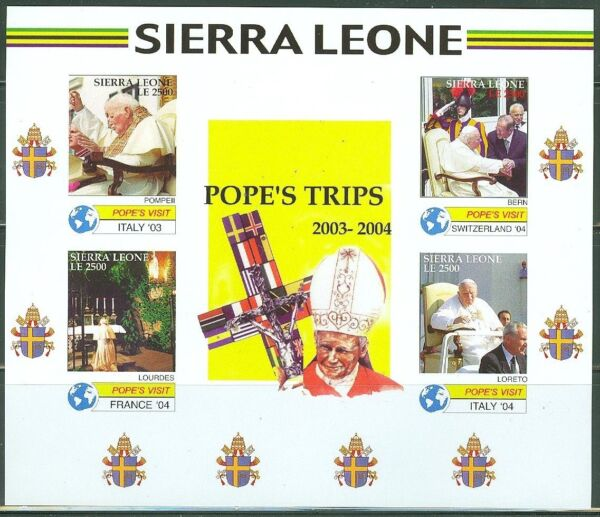 SIERRA LEONE   IMPERF POPE JOHN PAUL II  TRIPS  200304  SHEET SC#2838   MINT NH $39.95