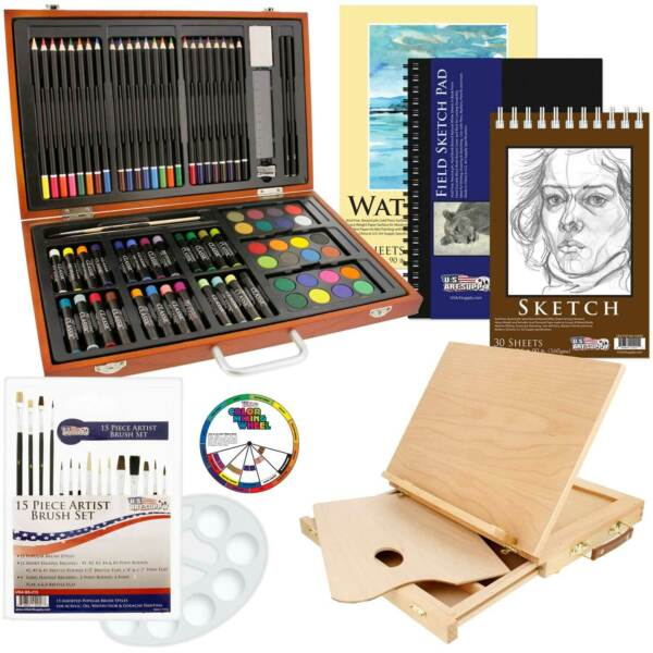 103 PC Wood Box Artist Drawing Set Colored Pencils Pastels Watercolors Easel