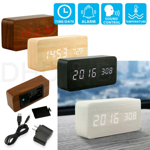 Modern Wooden Alarm Clock Wood USBAAA Digital LED Calendar Thermometer Bedroom