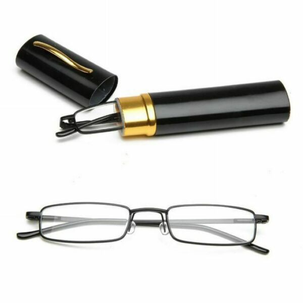 Portable Unisex Metal Reading Glasses Clear Spring Hinge + Tube Case +1.0~+4.0
