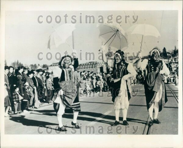 1966 Wire Photo Men Wearing Masks Of Wood At Carnival Lucerne Switzerland