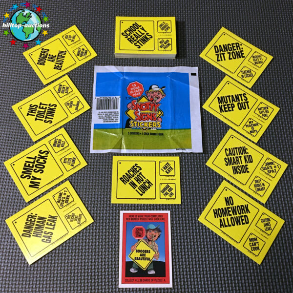SNOTTY SIGNS 44-CARD COMPLETE SET +WRAPPER 1986 TOPPS garbage pail kids