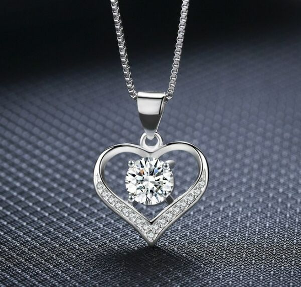 925 Sterling Silver Love Heart Cubic Zirconia CZ Pendant Necklace 18quot; Gift Box $8.95