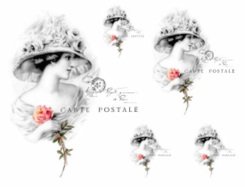 Vintage Victorian French Woman Rose Postale Waterslide Decal Transfer WOM990