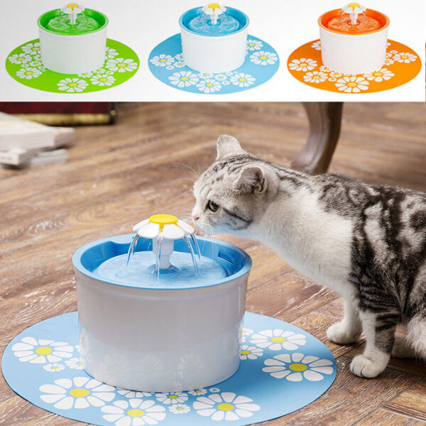 AUTOMATIC CAT DOG WATER DRINKING FOUNTAIN PET BOWL DRINK DISH FILTER NEW