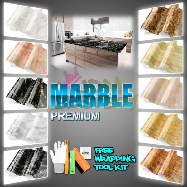 Gloss Matte Marble Granite Effect Vinyl Wrap Self Adhesive Counter Top Home