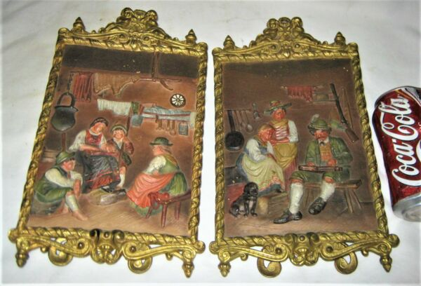 2 ANTIQUE BRADLEY HUBBARD USA FAMILY CAST IRON HUNTING WALL ART PLAQUE PAINTING