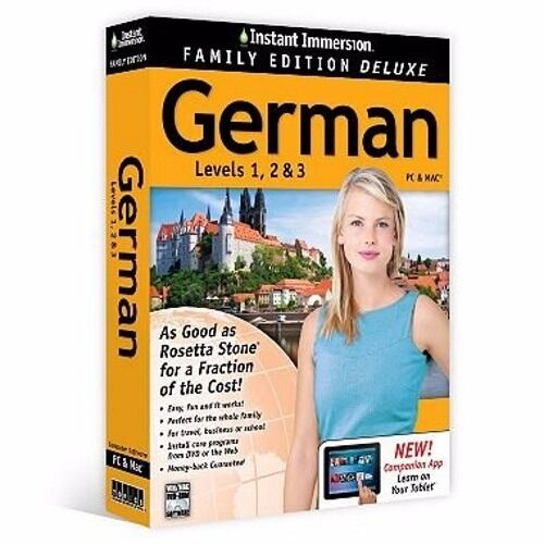 Instant Immersion Family Edition Deluxe German Levels 1 2 3 PC Mac Tablet 81400 $12.99