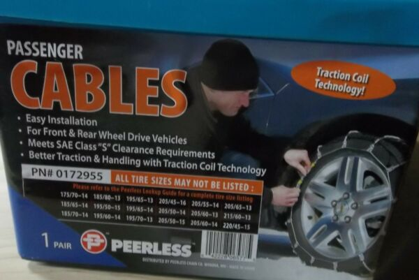 TIRE CABLE SNOW CHAINS PAIR OF RASSENGER CAR PEERLESS 0172955 VEHICLE