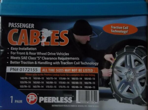 TIRE CABLE SNOW CHAINS PAIR OF PASSENGER PEERLESS 0172155 VEHICLE