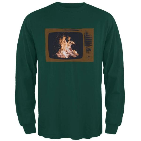 Autumn Funny Faux Fireplace Television Mens Long Sleeve T Shirt