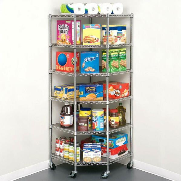 6-Tier Wire Shelf Shelving Adjustable Heavy Duty Rack Corner Large Storage Space