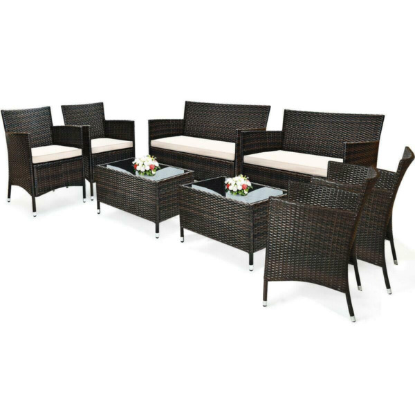 4PCS Patio Rattan Wicker Furniture Set Cushioned Chair Glass Table Top Garden