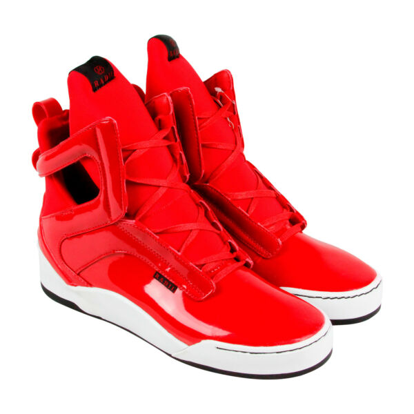 Radii Prism Mens Red Leather High Top Lace Up Sneakers Shoes