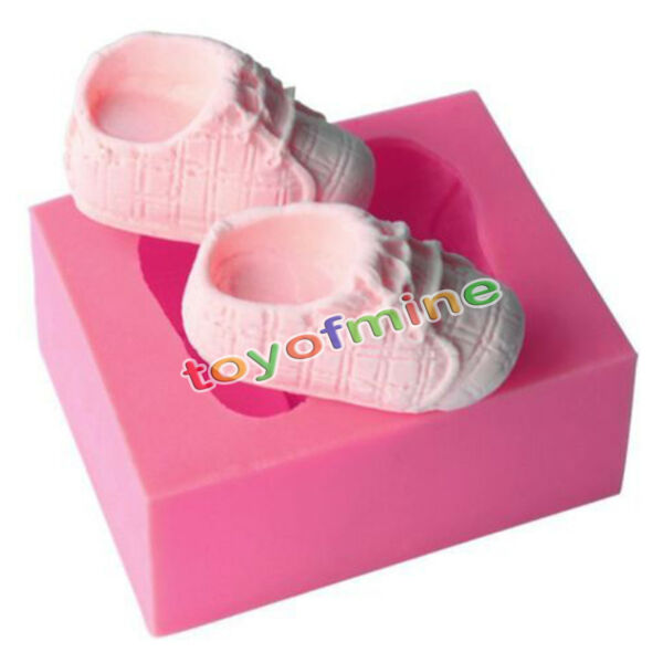 3D Baby Shoes Silicone Cake Mold Fondant Chocolate Decorating Baking Mould DIY