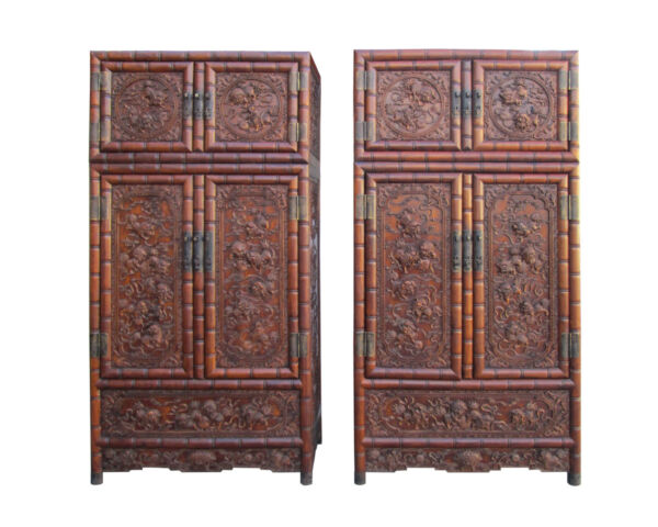 Pair Chinese Rosewood Relief Foo Dog Carving Compound Tall Cabinets SDC1