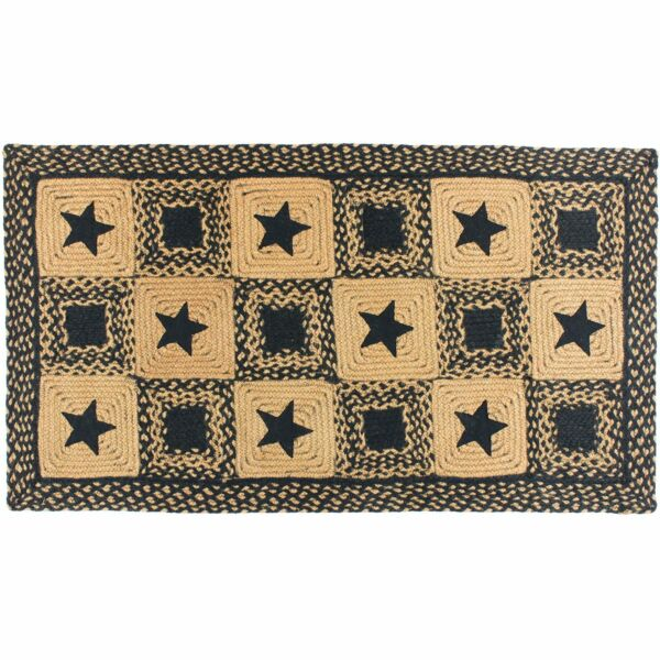 Country Star Black Rectangle Braided Area Rug Jute Fabric 20