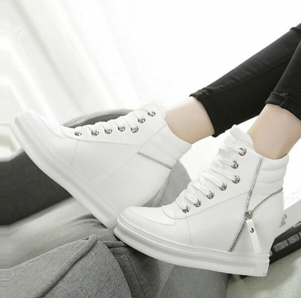 Hot Womens High Top Trainers Boots Zip Lace Up Hidden Wedge Heels Sneakers Shoes