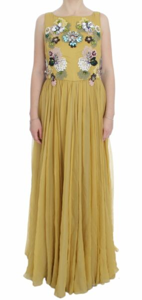 NEW $21000 DOLCE & GABBANA Dress Yellow Silk Crystal Applique Shift IT46  US12