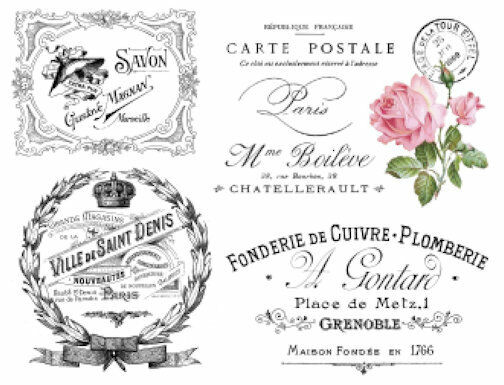 Vintage French Advertising Labels Furniture Transfers Waterslide Decals MIS586