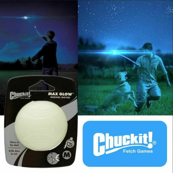 Chuckit MAX GLOW Ball Dog Puppy Night Time Toy Fits Launchers - 3 Sizes $6.88