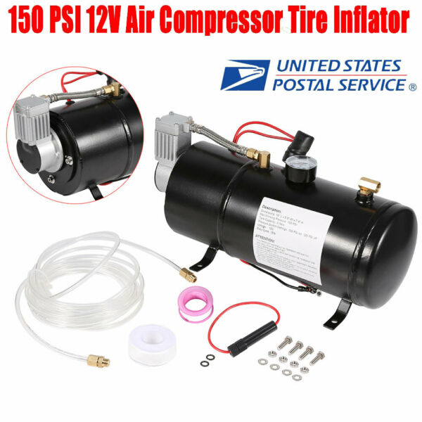 150PSI DC 12V TRUCK PICKUP ON BOARD AIR HORN AIR COMPRESSOR With 3 LITER TANK US