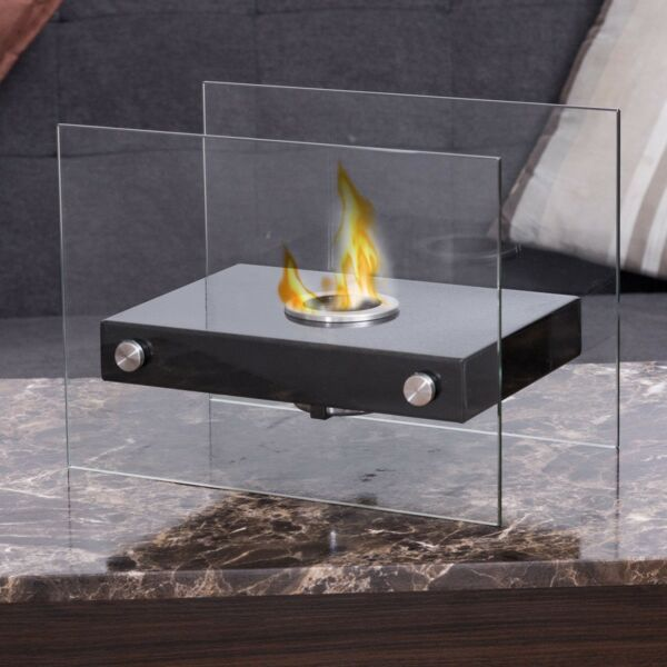 Ventless Firepit Bio Ethanol Tabletop Fireplace Stainless Steel Base Portable
