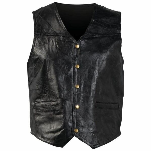 New Mens Genuine Leather Motorcycle Biker Vest Lg XL 2X 3X Italian Stone Design
