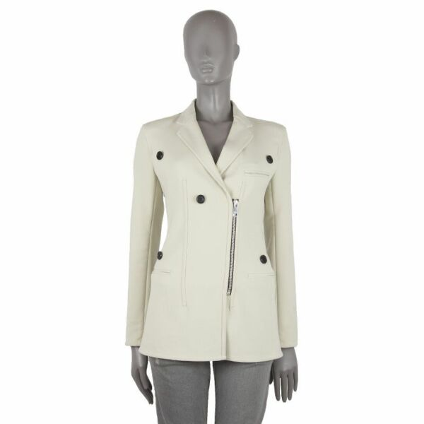 52377 auth CELINE pale yellow wool Double-Breasted Zipper Blazer Jacket 38 S