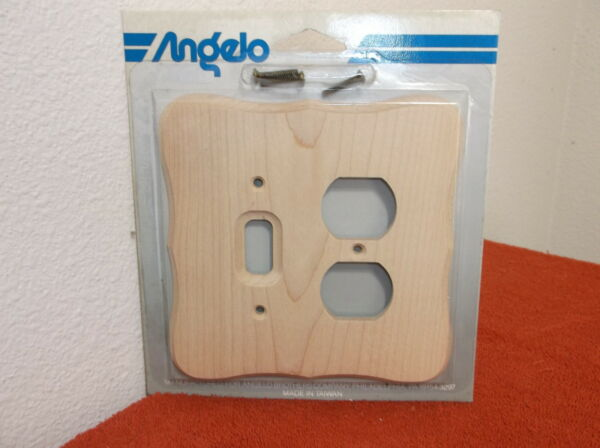 BRAND NEW quot;ANGELOquot; GENUINE MAPLE WOOD SWITCH amp; DOUBLE PLUG WALL OUTLET COVER $10.79