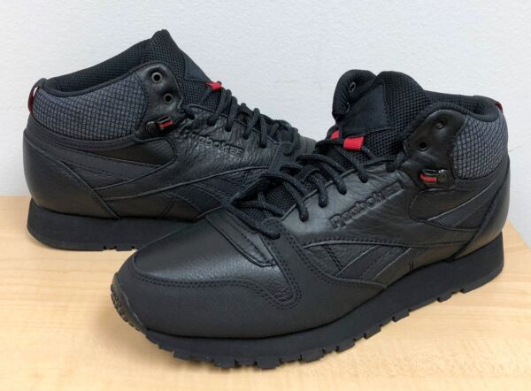 MENS REEBOK CLASSIC LEATHER MID TWD BS6363 Black/Excellent Red/Blackstone