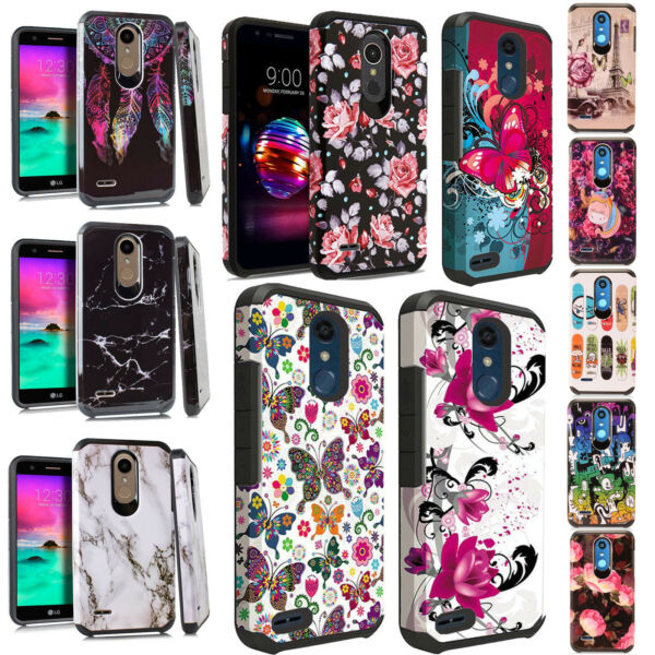 For LG K10 2018 HARD Astronoot Hybrid Rubber Silicone Case Cover + Screen Guard