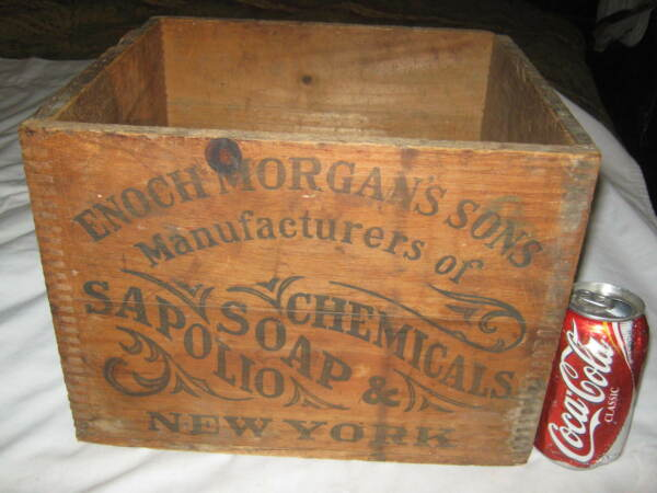 ANTIQUE NY COUNTRY PRIMITIVE DRUG CHEMICAL SOAP STORE SIGN WOOD ART BOX NEW YORK
