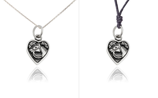 New Horse Heart Love 92.5 Sterling Silver Charm Necklace Pendent Jewelry