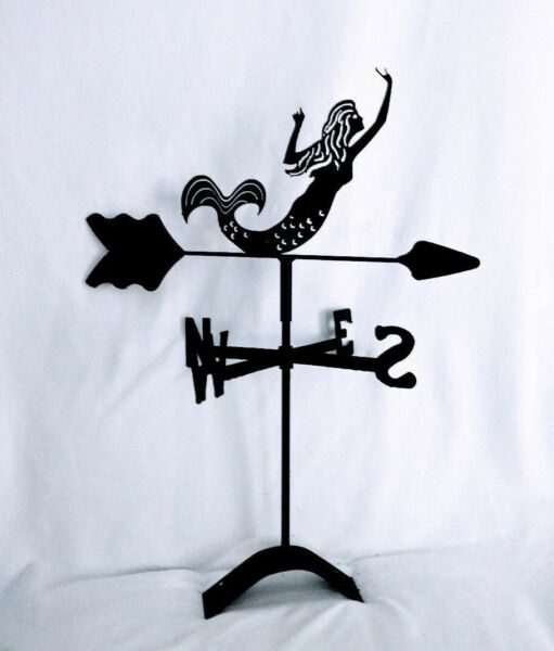 mermaid roof mount weathervane black wrought iron made in usa $24.99
