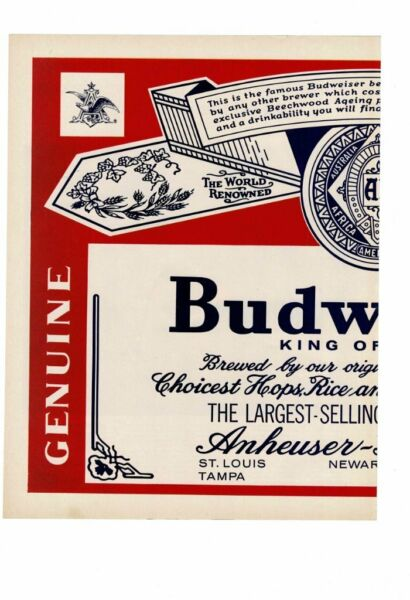 VINTAGE OLD BUDWEISER BEER FOLD OUT KING OF BEER ANHEUSER BUSCH AD PRINT